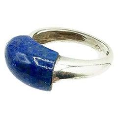 Vintage Grossé Solid Silver & Blue Agate Curve Ring 1972