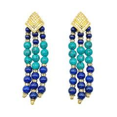 Vintage Grosse Turquoise & Lapis Tassle Statement Earrings 1970s