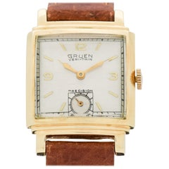 Vintage Gruen Veri-Thin Precision 14 Karat Yellow Gold Watch, 1947