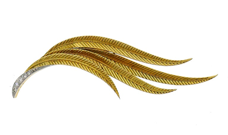 Single Cut Vintage Gubelin Diamond Gold Feather Pin Brooch Clip For Sale