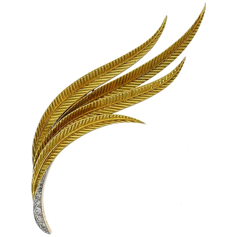 Vintage Gubelin Diamond Gold Feather Pin Brooch Clip For Sale