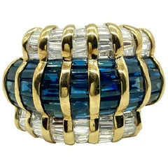 Vintage Gubelin Sapphire and Diamond Yellow Gold Ring