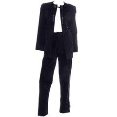 Vintage Gucci 1970s Black Suede Pants & Jacket Suit w Tassels & Monogram Lining