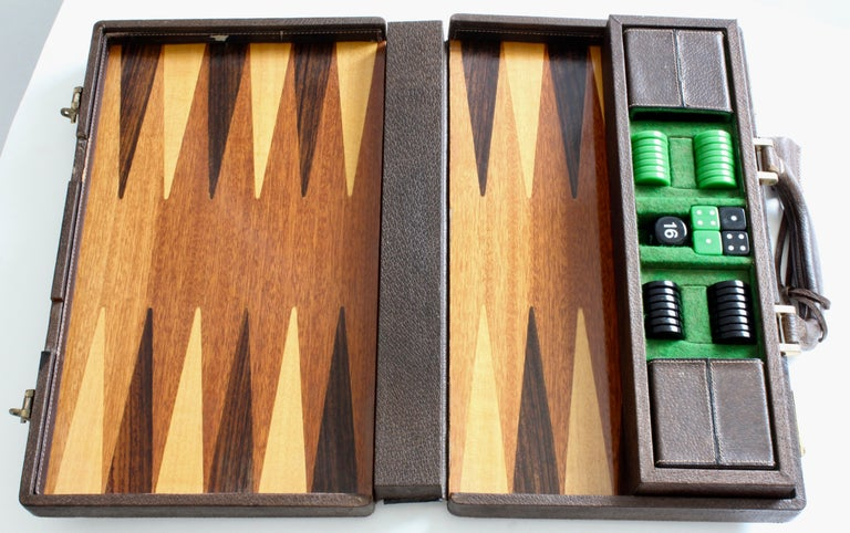 Vintage Gucci Backgammon Game Travel Leather Case Horse-bit Webbing 70s  For Sale 6