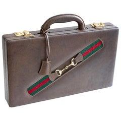 Vintage Gucci Backgammon Game Travel Leather Case Horse-bit Webbing 70s