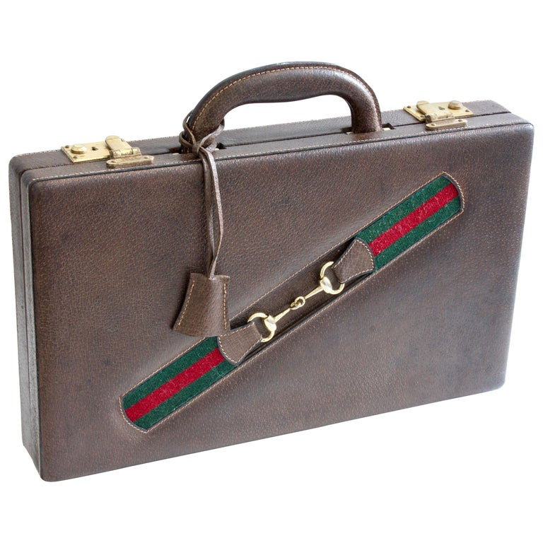 Vintage Gucci Backgammon Game Travel Leather Case Horse-bit Webbing 70s  For Sale