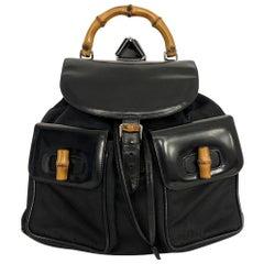 Vintage Gucci Bamboo Backpack Black - Large Size