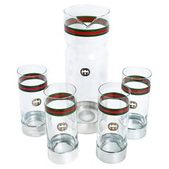 Vintage Gucci Barware Set 5pc Pitcher Carafe & High Ball Glasses GG Logo Webbing