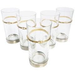 Vintage Gucci Barware Set of 5 High Ball Glasses Crystal GG Logo