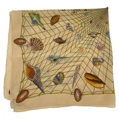 Vintage Gucci Beige Silk Scarf