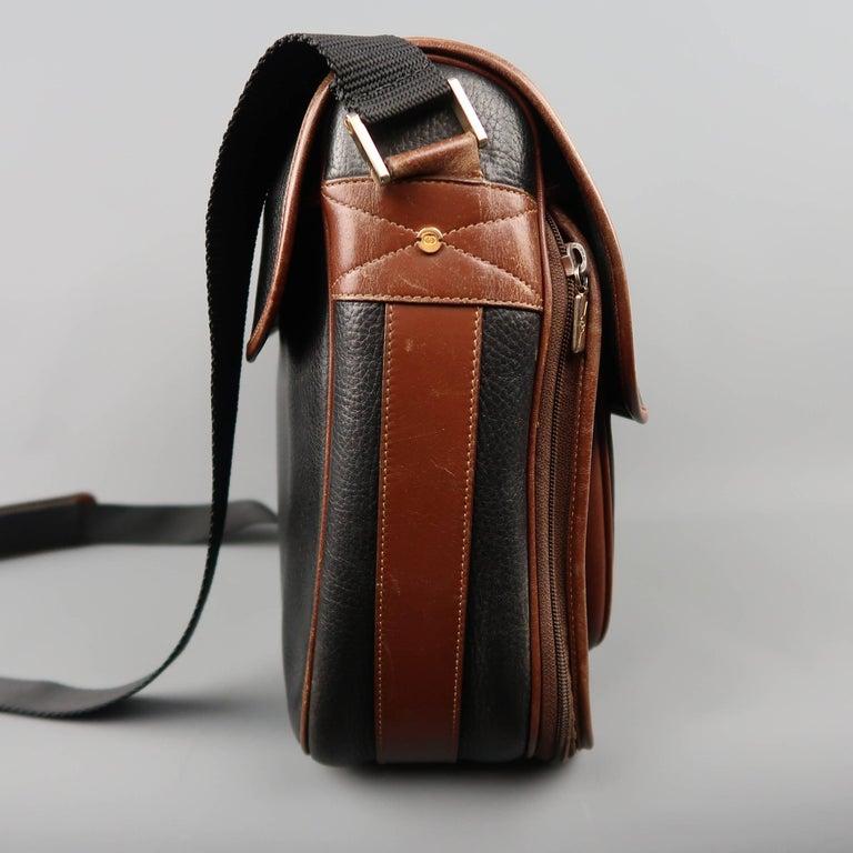 b410c7e8fce5 Vintage GUCCI Bag Black & Brown Leather Crossbody Shoulder Messenger Bag In  Fair Condition For Sale