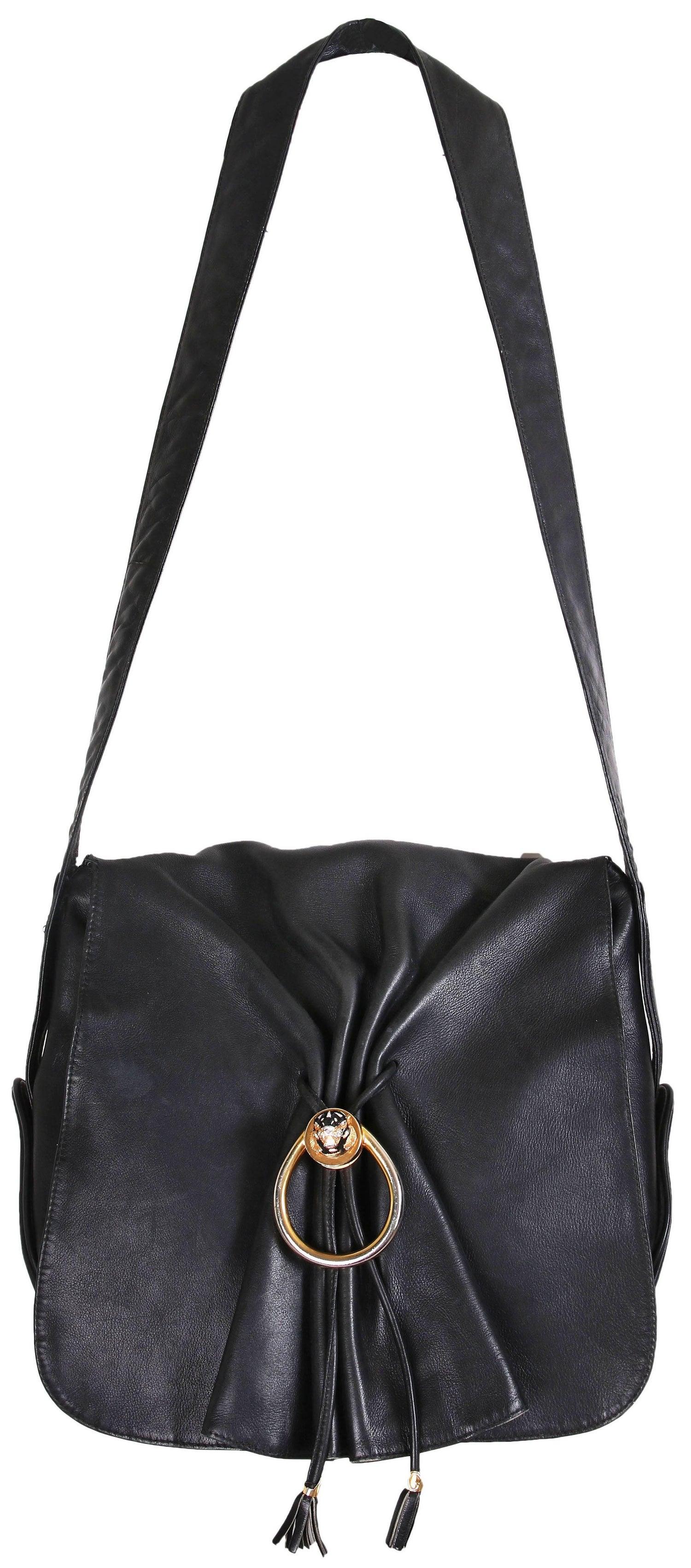 f65f48037 Vintage Gucci Black Leather Bag w/Flap Closure and Enamel Tiger Head Door  Knocker at 1stdibs
