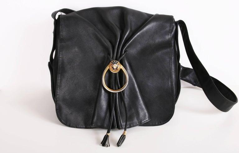 1fba35469 Vintage Gucci Black Leather Bag w/Flap Closure & Enamel Tiger Head Door  Knocker In