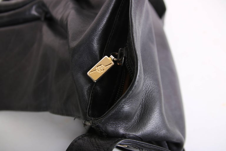 6541cb4d2 Vintage Gucci Black Leather Bag w/Flap Closure & Enamel Tiger Head Door  Knocker For