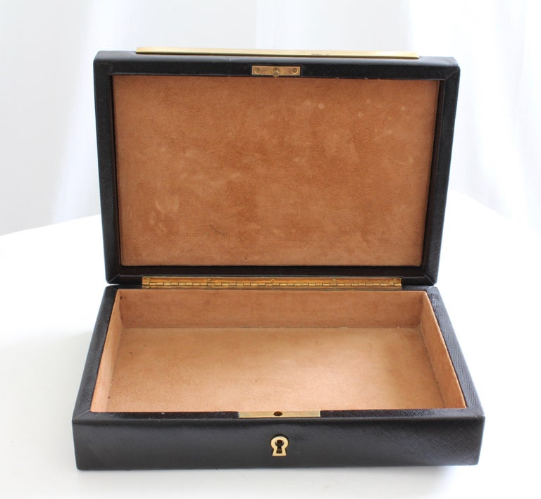 Vintage Gucci Black Leather Jewelry Case Trinket Box Home Decor  In Good Condition For Sale In Port Saint Lucie, FL
