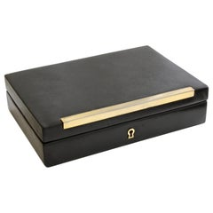 Vintage Gucci Black Leather Jewelry Case Trinket Box Home Decor