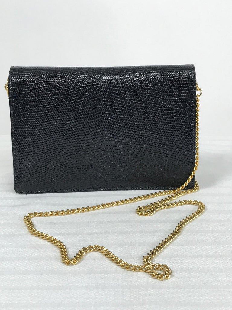 Vintage Gucci Black Lizard Evening Bag Gold Hardware 1970s In Good Condition For Sale In West Palm Beach, FL
