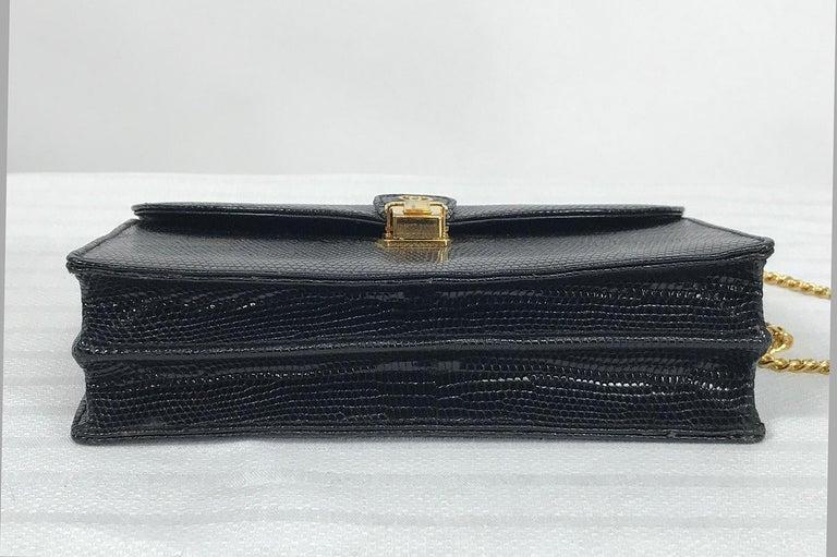 Vintage Gucci Black Lizard Evening Bag Gold Hardware 1970s For Sale 1
