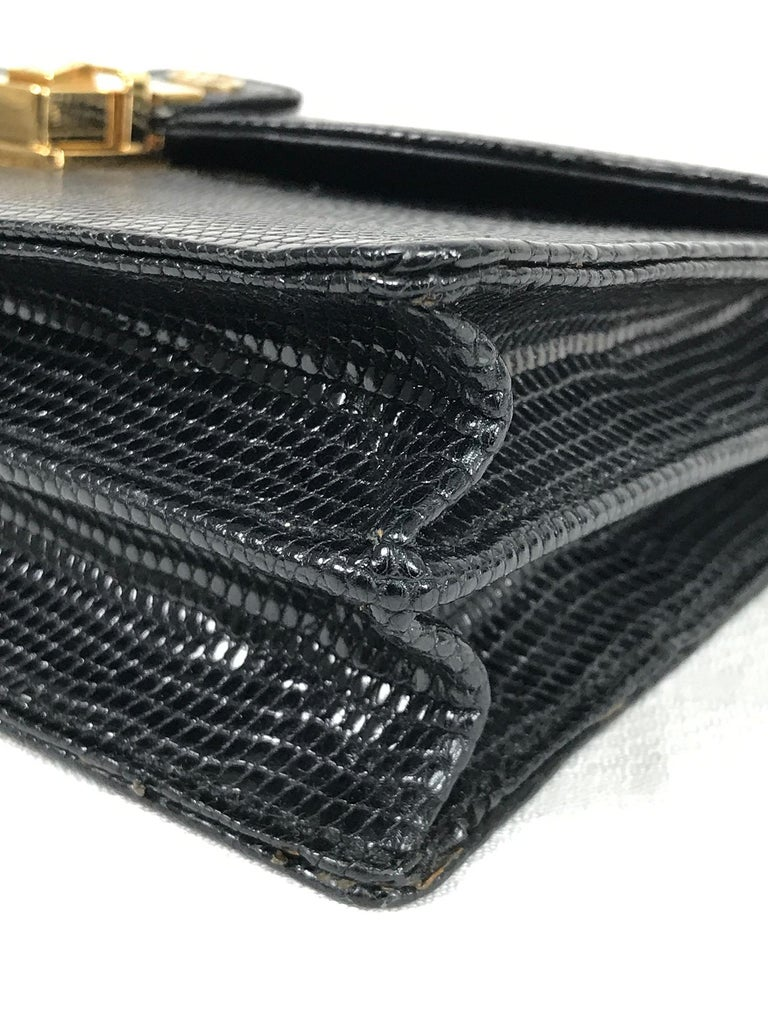 Vintage Gucci Black Lizard Evening Bag Gold Hardware 1970s For Sale 2