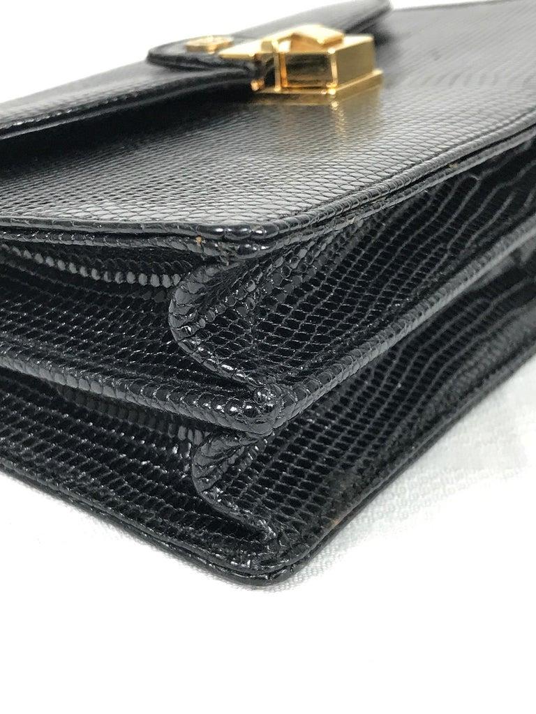 Vintage Gucci Black Lizard Evening Bag Gold Hardware 1970s For Sale 3