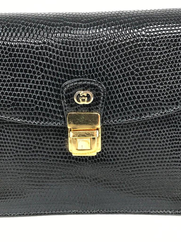 Vintage Gucci Black Lizard Evening Bag Gold Hardware 1970s For Sale 5