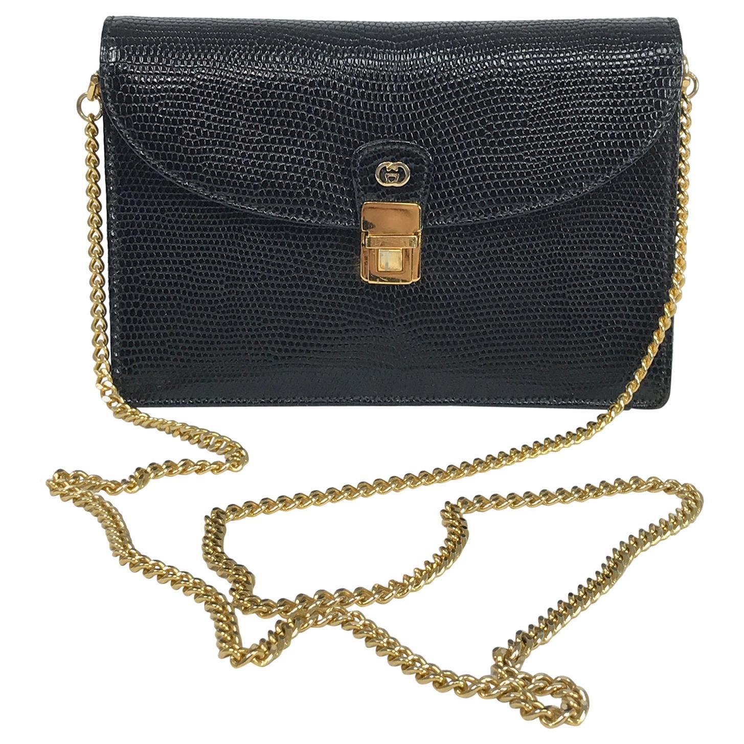 Vintage Gucci Black Lizard Evening Bag Gold Hardware 1970s