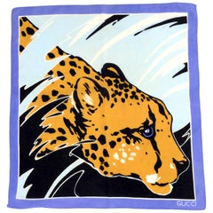 Vintage Gucci Blue Black and Yellow Gold Cheetah Scarf