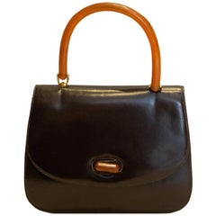 Vintage Gucci Brown Leather Tophandle Handbag