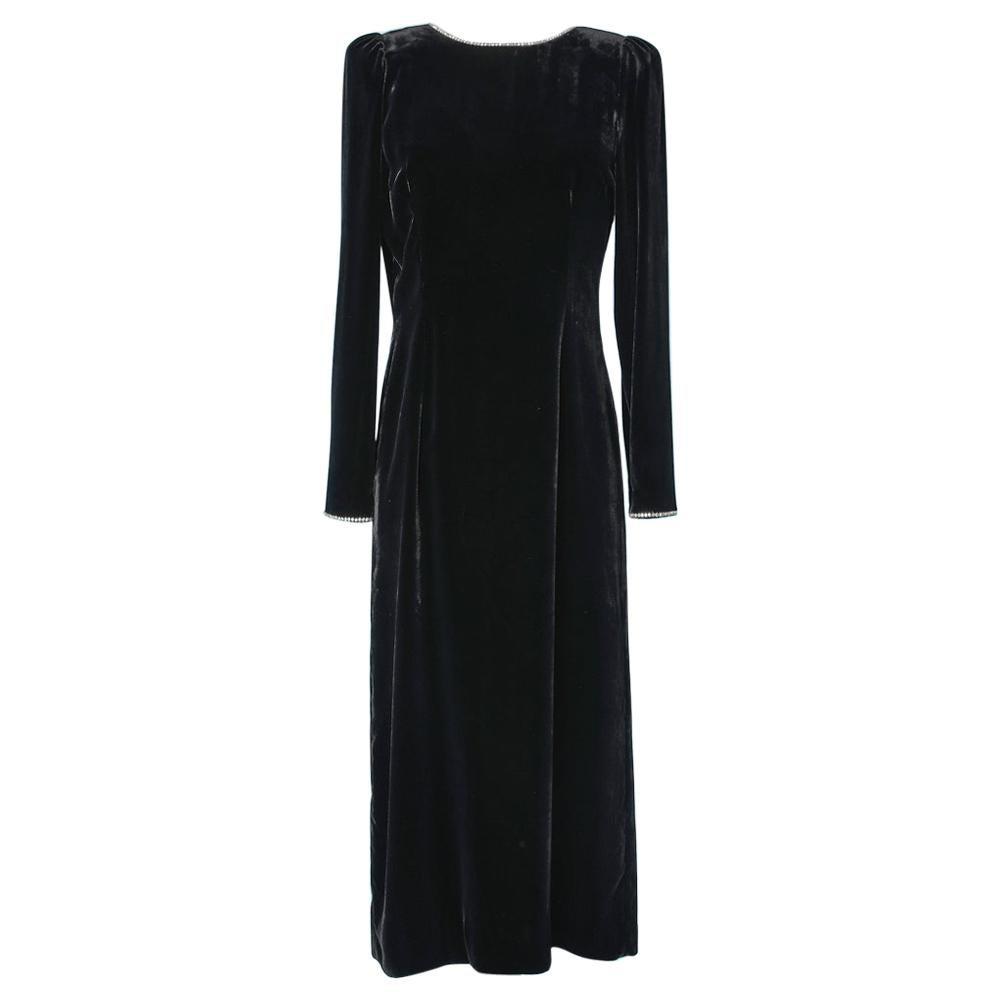 Vintage Gucci dress in black velvet with rhinestone band