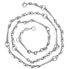 Vintage Gucci Equestrian Style Long Silver Necklace, Italian, circa 1970