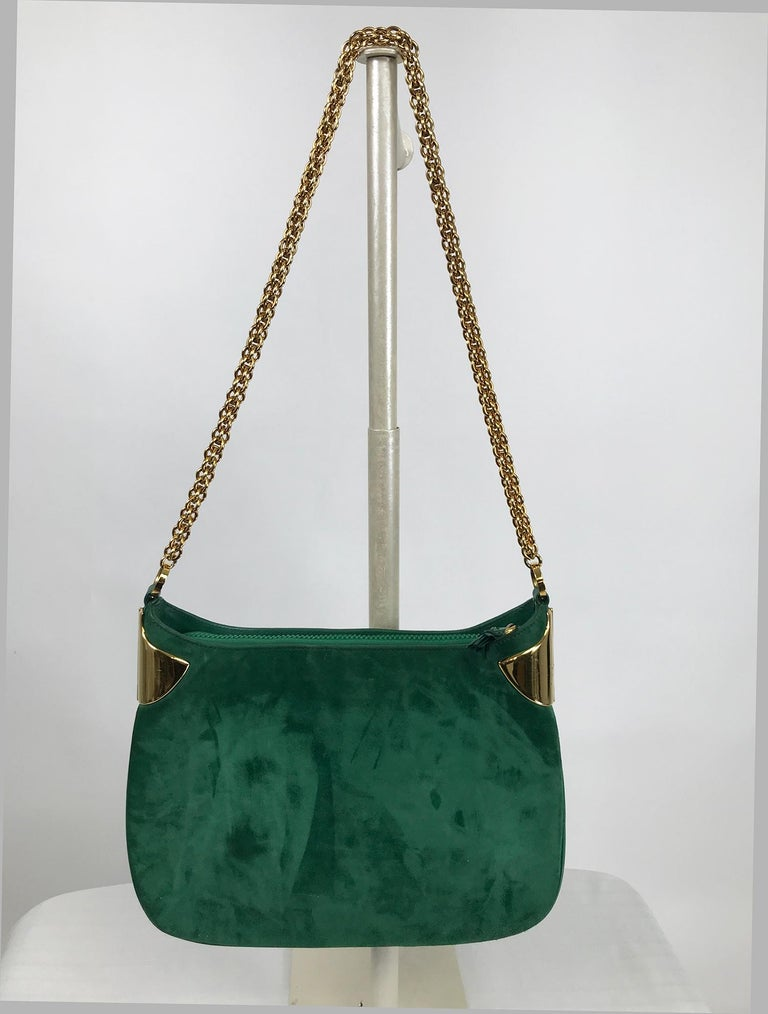 Vintage Gucci Forest Green Suede with Gold Chain and Gold Hardware 1980s For Sale 8