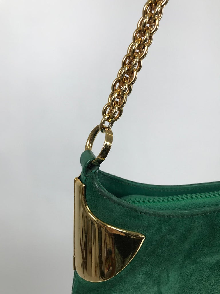 Blue Vintage Gucci Forest Green Suede with Gold Chain and Gold Hardware 1980s For Sale