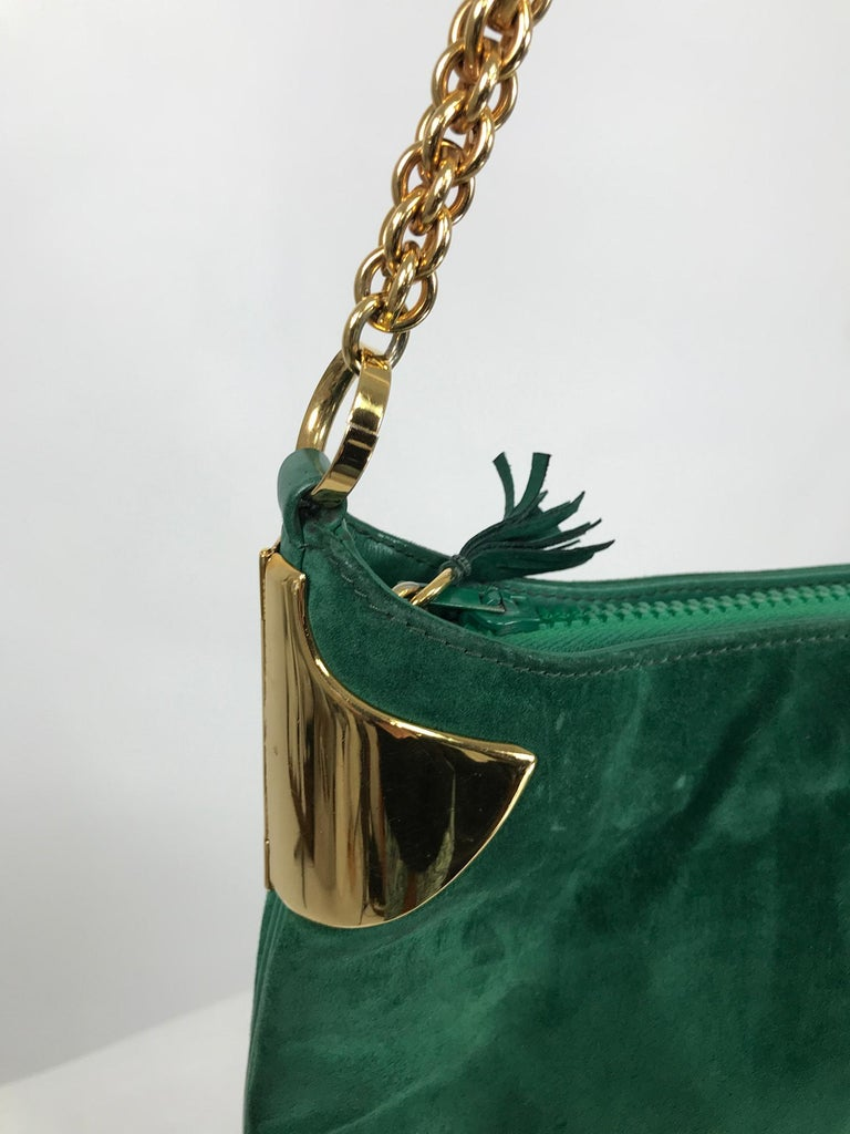 Women's or Men's Vintage Gucci Forest Green Suede with Gold Chain and Gold Hardware 1980s For Sale