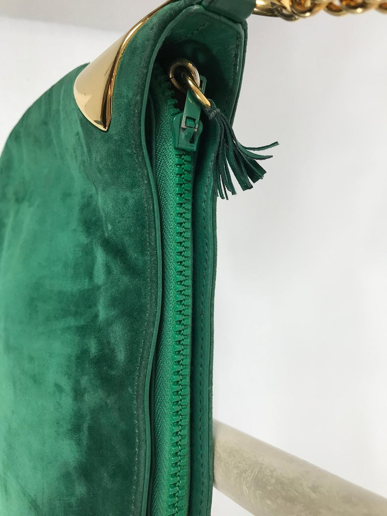 Vintage Gucci Forest Green Suede with Gold Chain and Gold Hardware 1980s For Sale 2