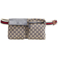 vintage GUCCI grey navy GG monogram canvas navy leather flap zip dual waist bag