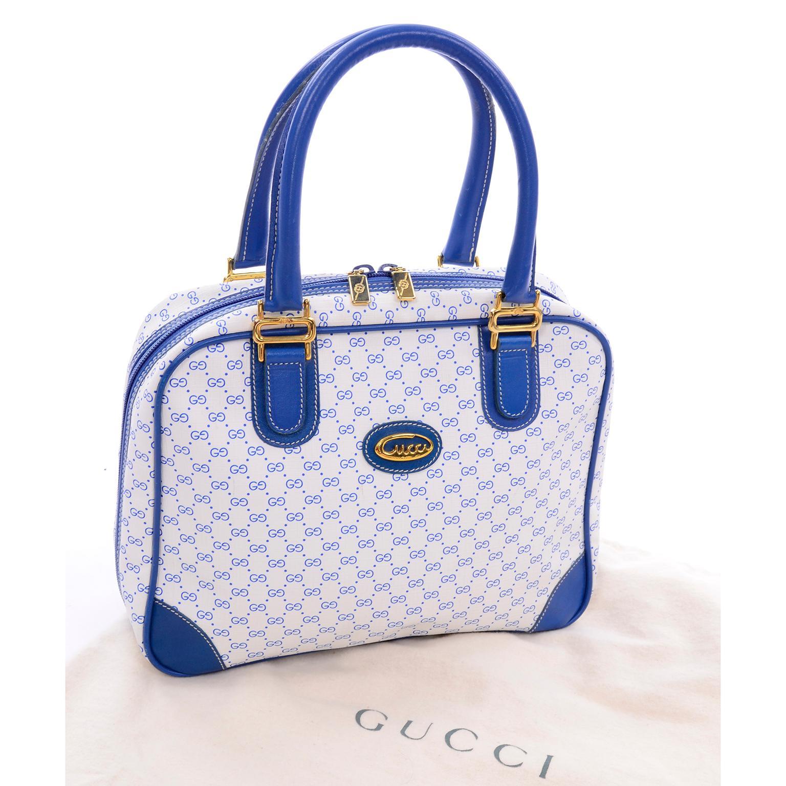 9c84b1cbb3464d Vintage Gucci Handbag Monogram Boston Bag in Bright Blue and White W/  Script Logo For Sale at 1stdibs