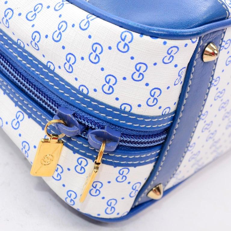 d5b8a4a1f60af9 Vintage Gucci Handbag Monogram Boston Bag in Bright Blue & White W/ Script  Logo For