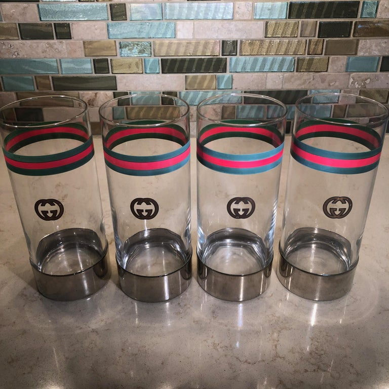 Vintage Gucci Highball Glasses GG Webbing Logo Set of 4 Barware Rare For Sale 5