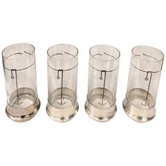 Vintage Gucci Highball Glassware w/ Silver Plate Bases, Set of Four '4'