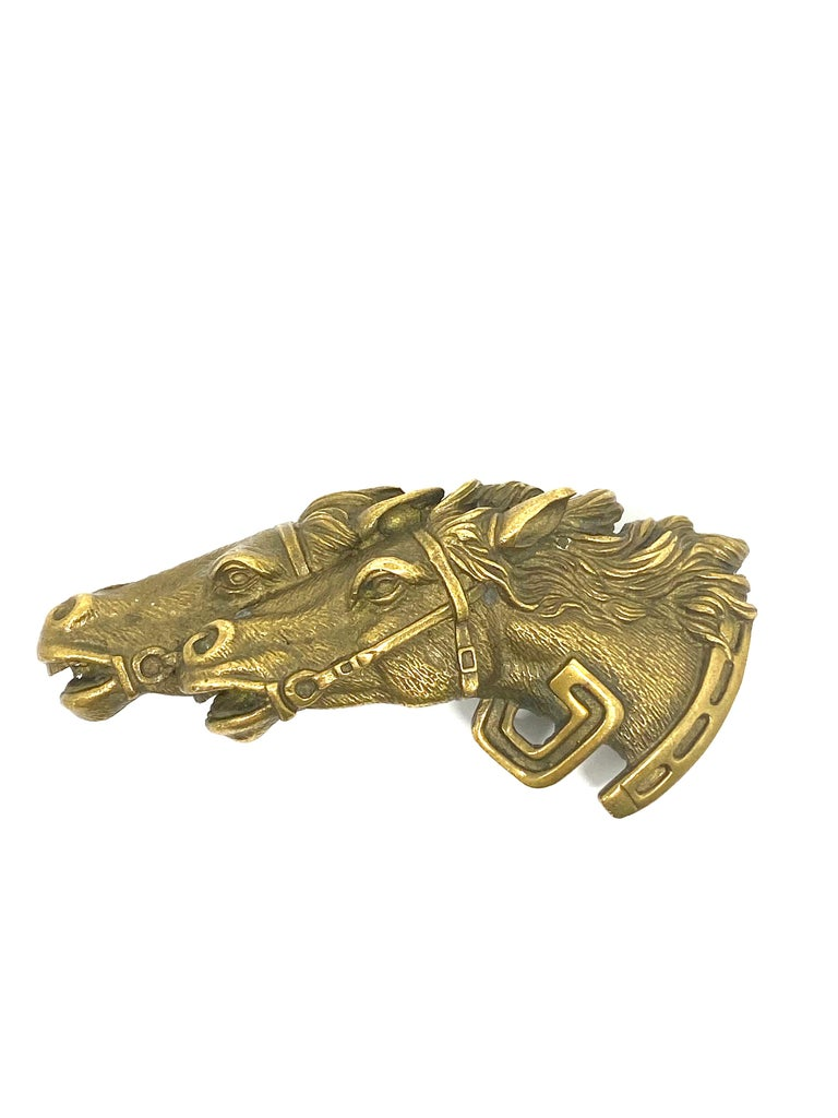 "Vintage GUCCI Italy Double Horse Head Bronze Belt Buckle  Product details: Bronze Circa 1970 Hallmarks: GUCCI Italy Made in Italy Fits 1"" wide belt Total weight is 48.0 g."