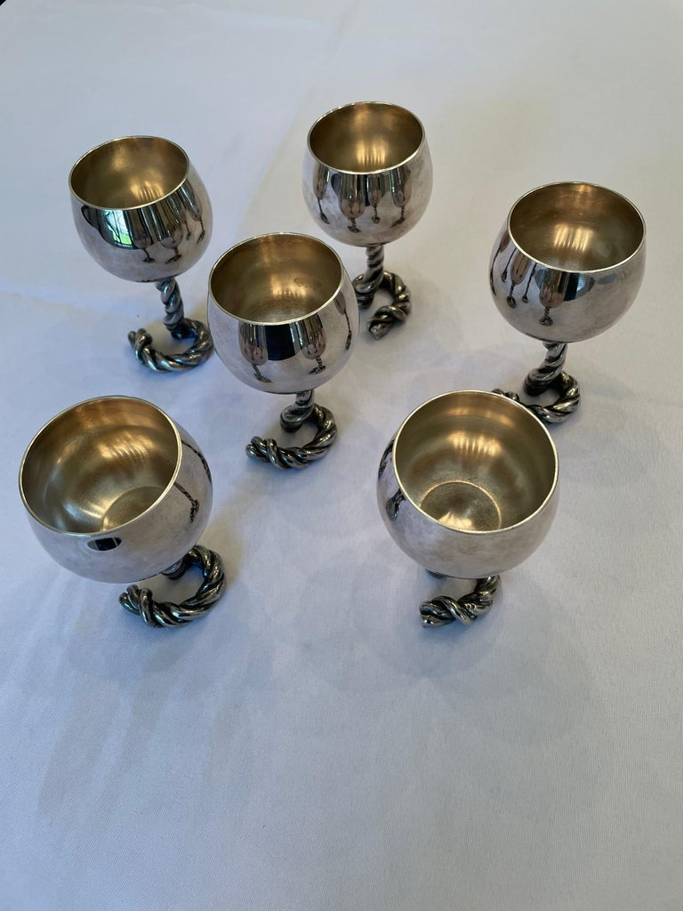 Late 20th Century Vintage GUCCI Italy Wine Goblets in Silver-Plate Rope Design, Marked For Sale