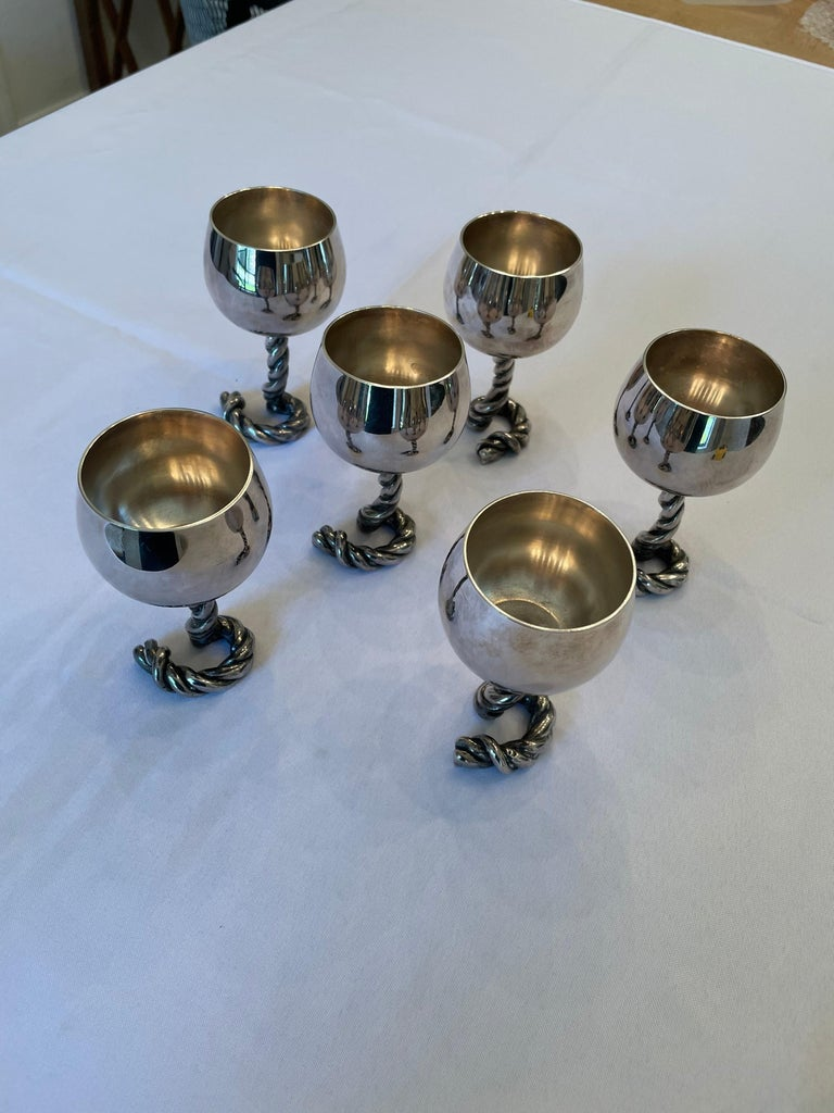 Silver Plate Vintage GUCCI Italy Wine Goblets in Silver-Plate Rope Design, Marked For Sale