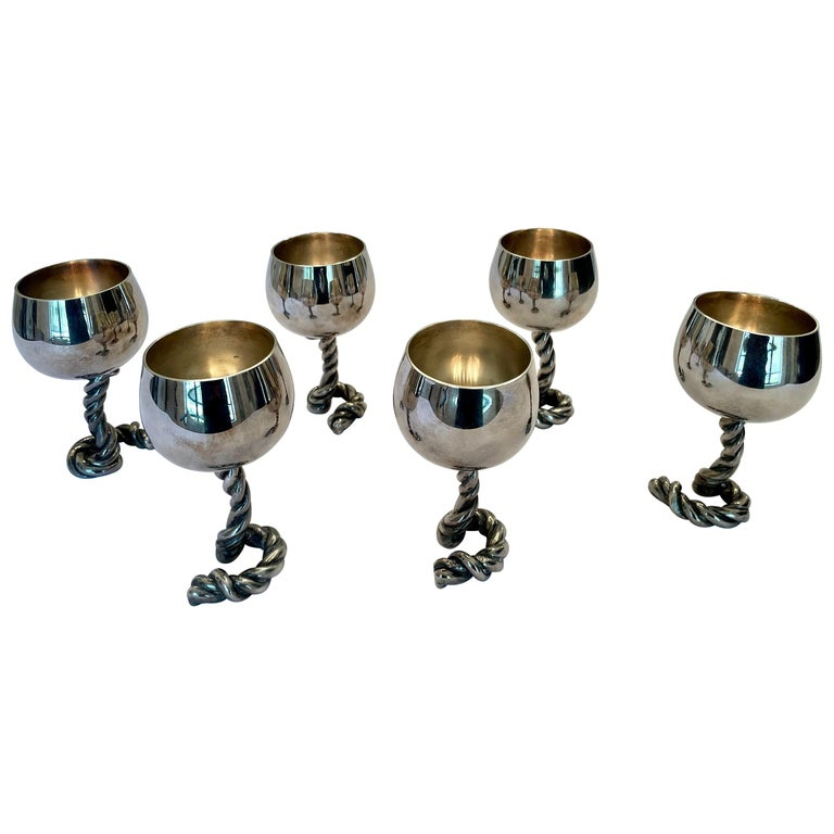 Vintage GUCCI Italy Wine Goblets in Silver-Plate Rope Design, Marked For Sale
