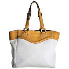 Vintage Gucci Ladies White Canvas and Brown Leather Designer Handbag or Purse