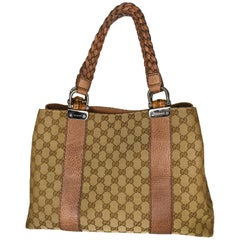 Vintage Gucci Monogram Tote With Braided Straps and Bamboo Accents