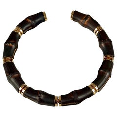 Vintage GUCCI Natural Bamboo Rigid Choker Necklace
