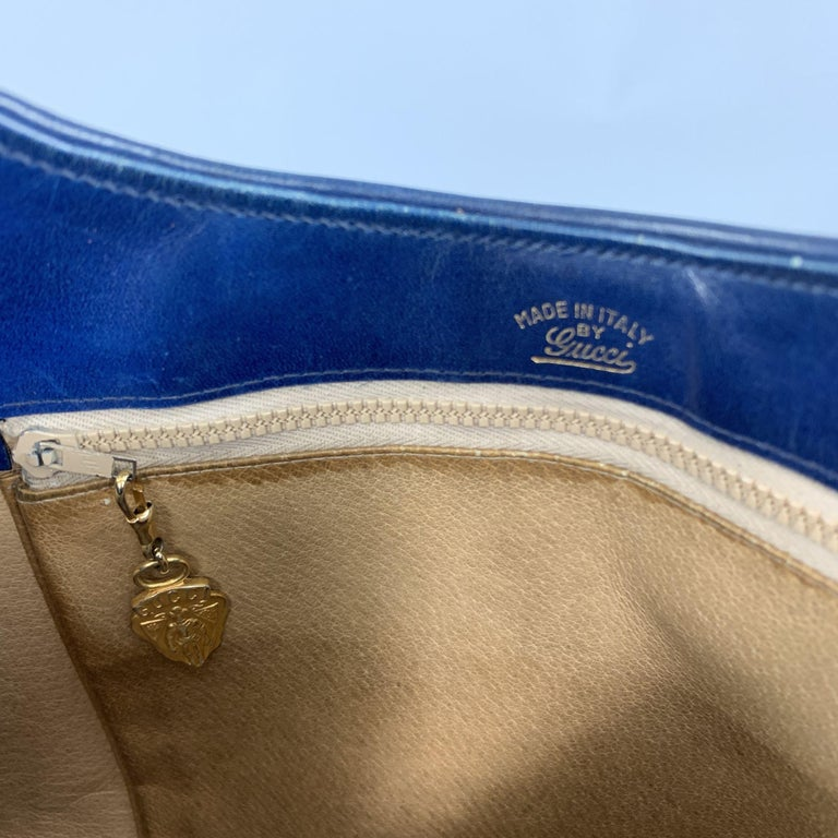 Vintage GUCCI Navy Blue Suede Gold Tone GG Shoulder Bag For Sale 6
