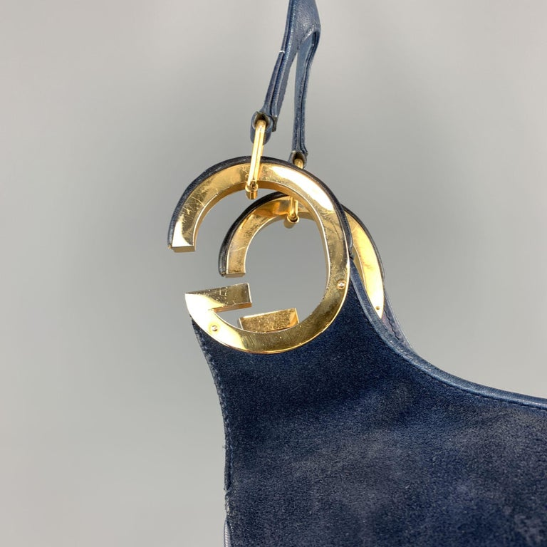 Vintage GUCCI Navy Blue Suede Gold Tone GG Shoulder Bag In Good Condition For Sale In San Francisco, CA