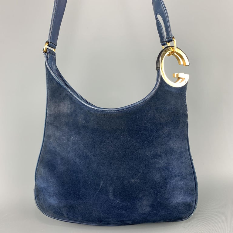 Vintage GUCCI Navy Blue Suede Gold Tone GG Shoulder Bag For Sale 1