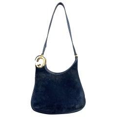Vintage GUCCI Navy Blue Suede Gold Tone GG Shoulder Bag